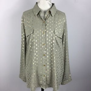 Chico's green gold long sleeve blouse